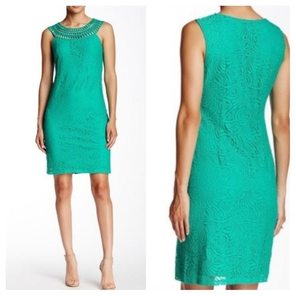Eliza J Teal Sleeveless Lace Overlay Shift Dress 4